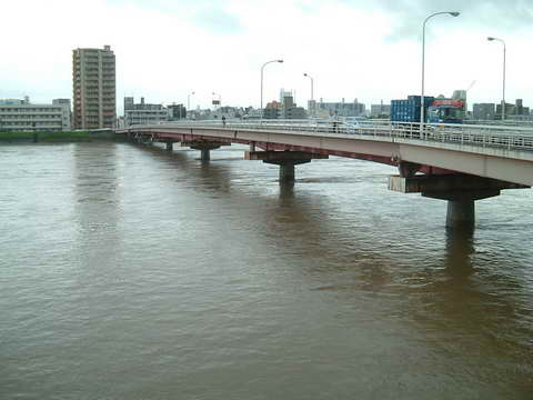 雨の河川敷