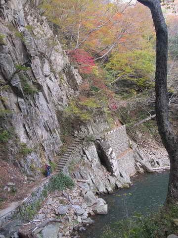 三段峡、三段滝から望む