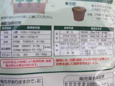 IB肥料、施肥量